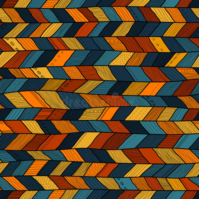 Trapunta pazza di stile tribale, gallone etnico multicolore illustrazione di stock