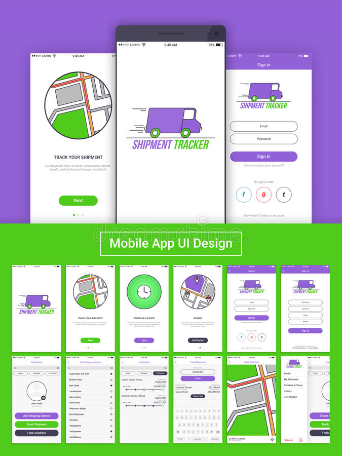 Traqueur APP mobile UI, UX et GUI d'expédition illustration de vecteur