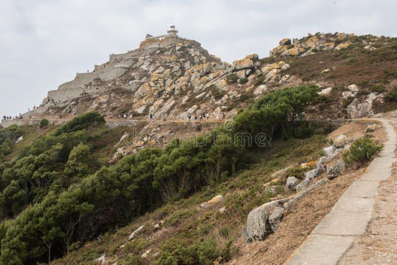 Trasa Cies latarnia morska, Cies wyspy, Galicia zdjęcie royalty free