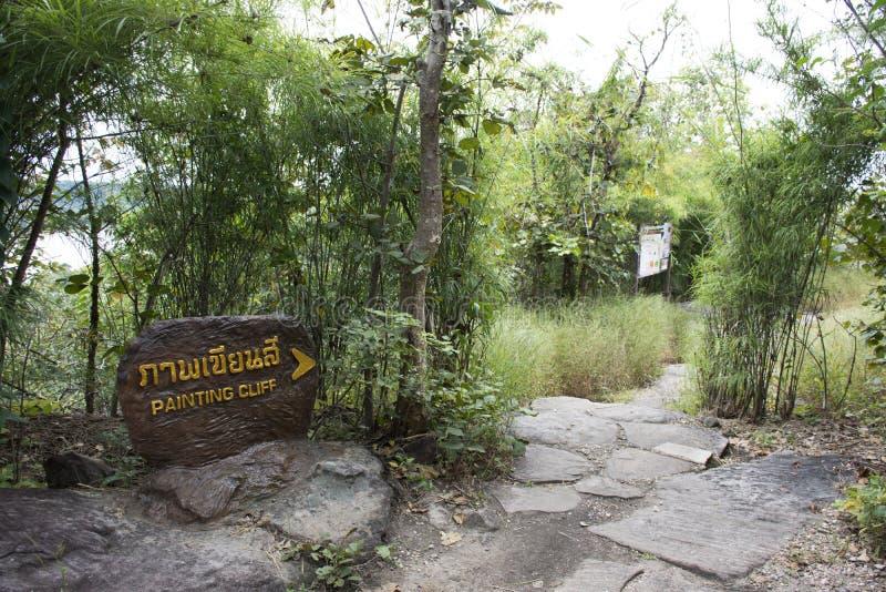 Trasa sposób iść Kołysać sztukę na falezach nad Mekong oszacowywający być 3.000 lat przy Pha Taem parkiem narodowym w Ubon Ratcha obraz stock