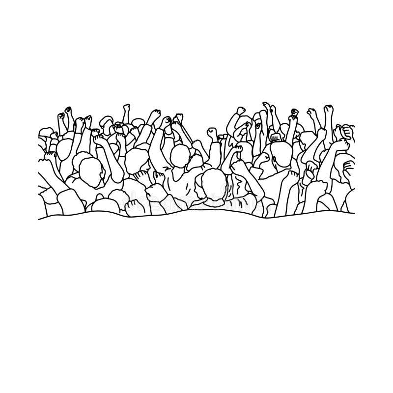 Trascinando la folla della gente alzi il loro consegna il illu di vettore delle teste royalty illustrazione gratis