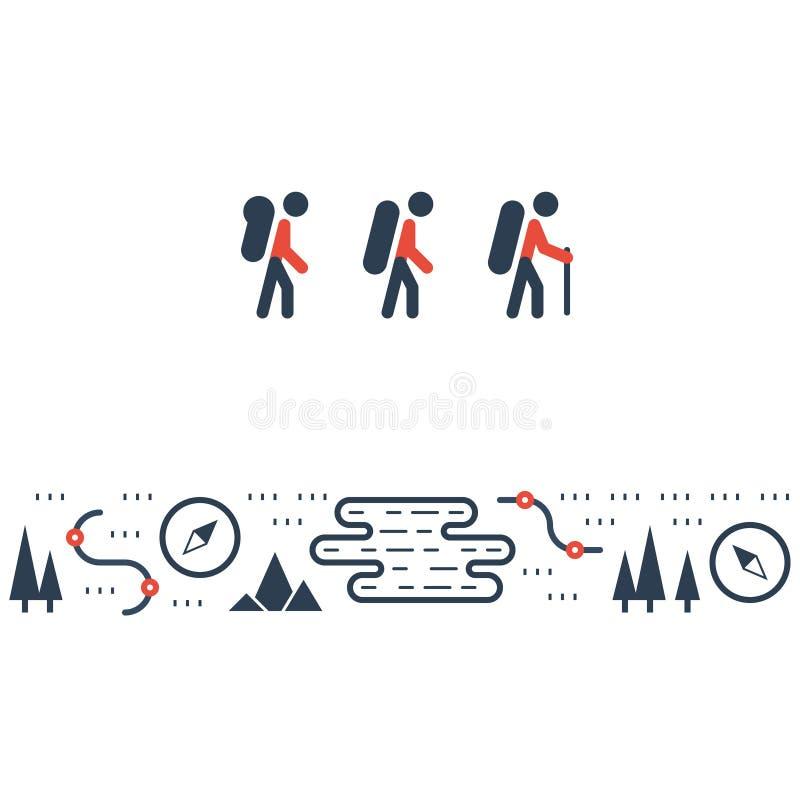 Trascini le icone piane, la camminata nordica, orienteering di sport illustrazione di stock