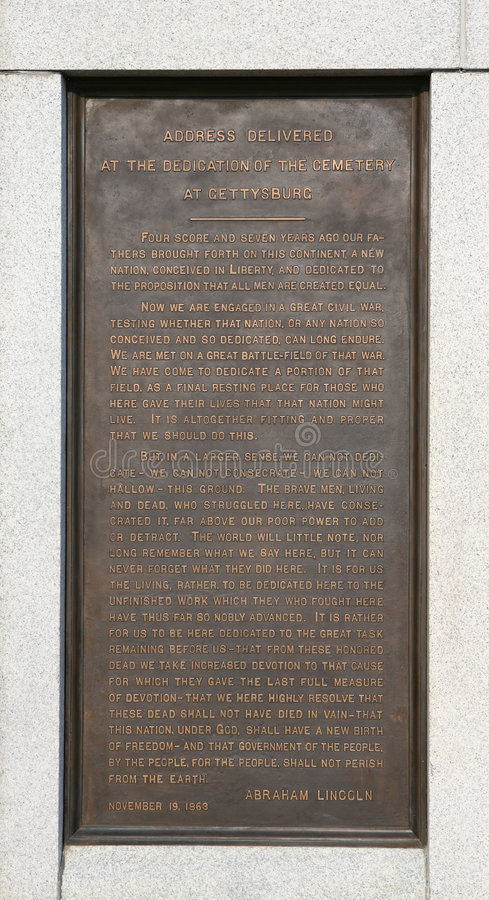 Trascrizione di indirizzo di Gettysburg fotografia stock libera da diritti