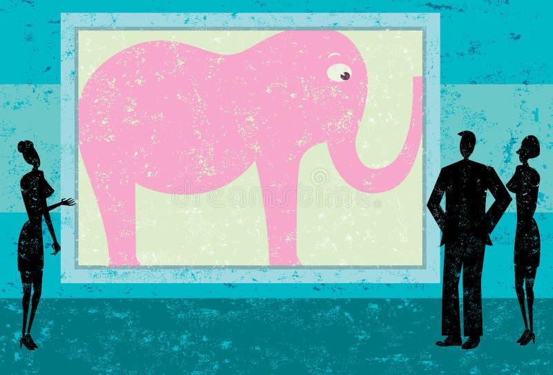 Trascuratezza dell'elefante rosa nella stanza illustrazione di stock