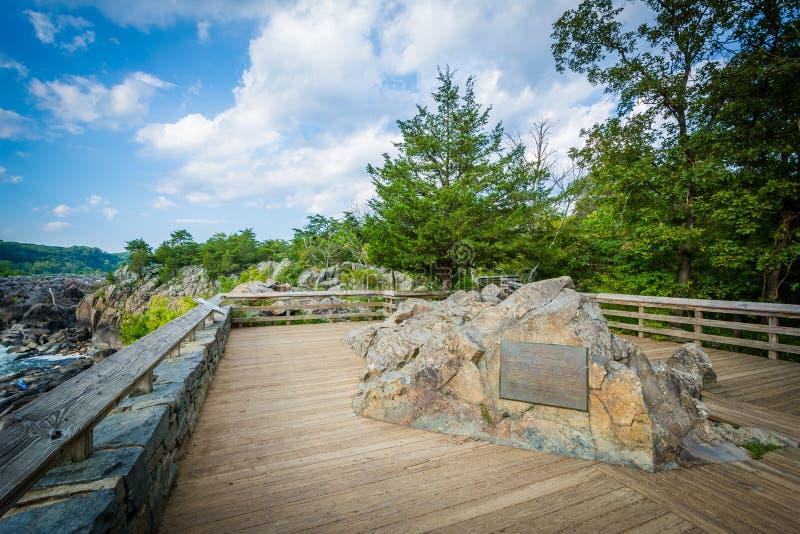 Trascuri di Great Falls all'isola di Olmsted al Chesapeake & all'Ohio C fotografie stock