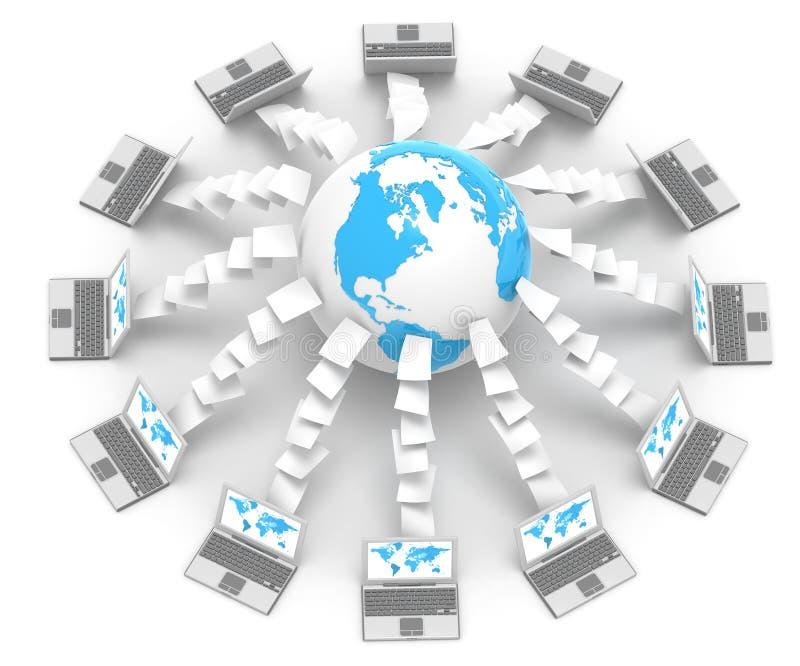 Trasferimento dal sistema centrale verso i satelliti di Upload illustrazione vettoriale