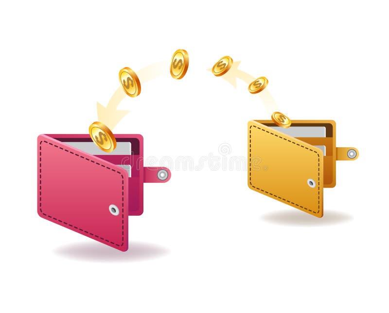 Trasferimento di denaro da ed al portafoglio nella progettazione isometrica di vettore Movimento di capitale, guadagni o soldi di illustrazione vettoriale