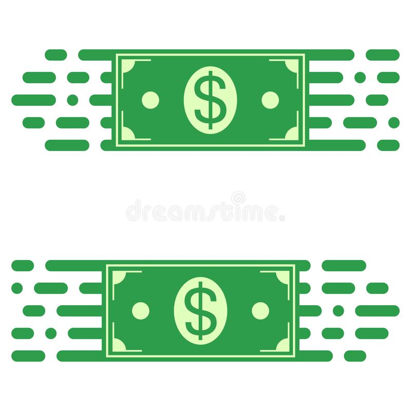 Trasferimento veloce di soldi, una banconota in dollari di logo in rapido concetto di vettore del trasferimento rapido dei fondi royalty illustrazione gratis
