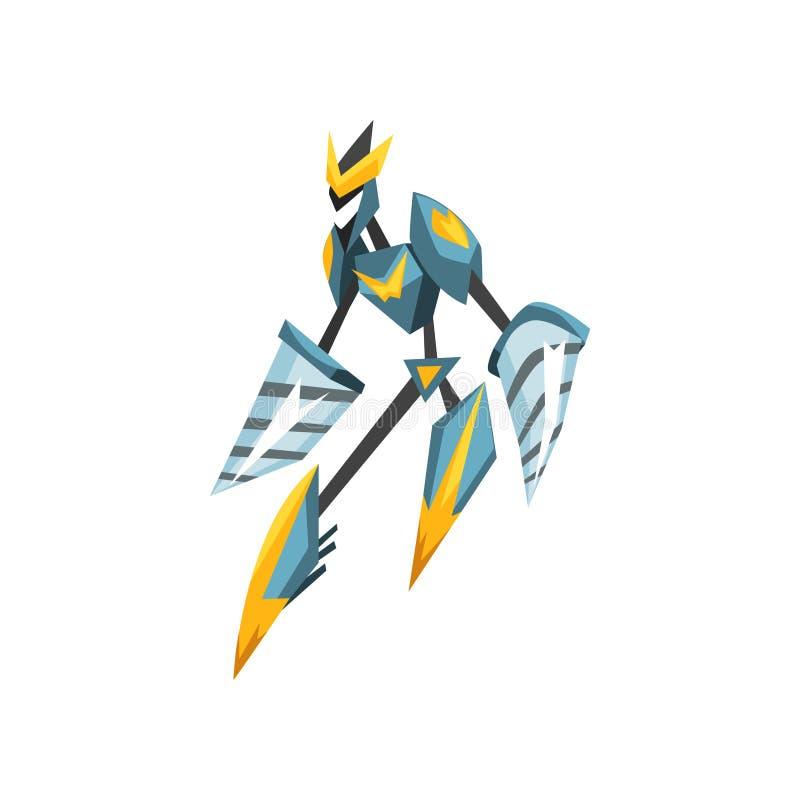 Trasformatore del robot con le mani del trapano Forte mostro con il corpo del metallo Guerriero dell'acciaio di fantasia Progetta illustrazione vettoriale