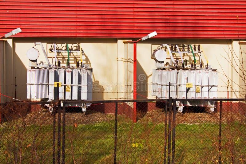 Trasformatori della centrale elettrica fotografie stock libere da diritti