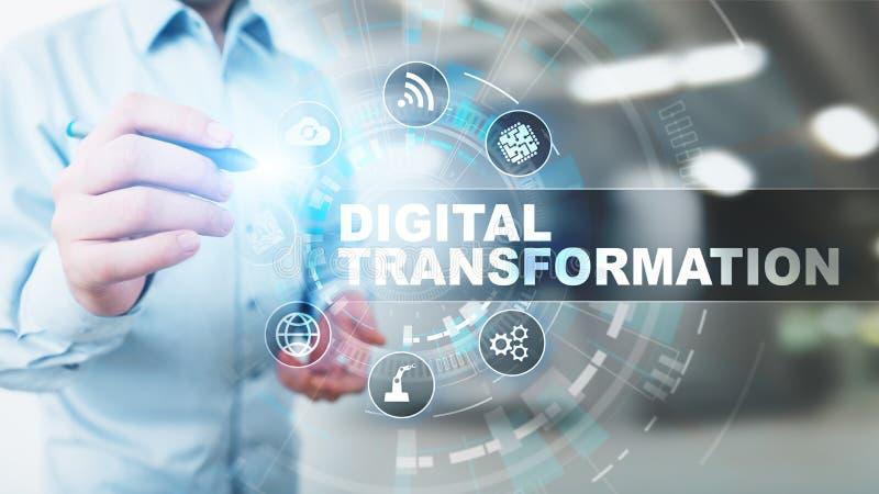 Trasformazione di Digital, rottura, innovazione Affare e concetto moderno di tecnologia illustrazione vettoriale