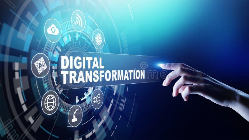Trasformazione di Digital, rottura, innovazione Affare e concetto moderno di tecnologia fotografie stock libere da diritti