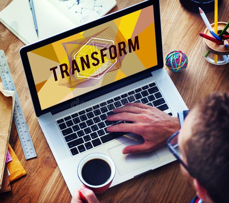 Trasformi creano il concetto di parola di stile di progettazione immagini stock libere da diritti