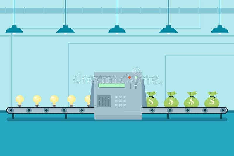 Trasformi l'idea della lampadina ai sacchi dei soldi illustrazione vettoriale