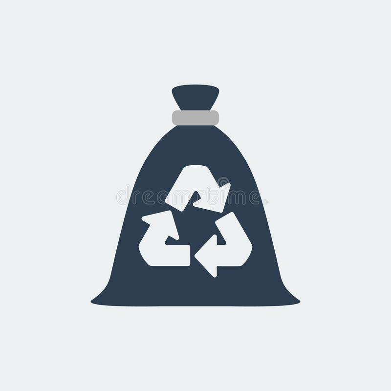Trash bag, garbage recycling and utilization icon.Vector Illustration. Trash bag, garbage recycling and utilization icon.Isolated On White Background. Vector royalty free illustration