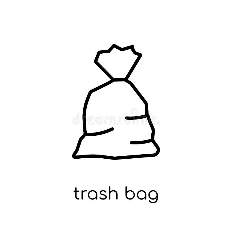 trash bag icon. Trendy modern flat linear vector trash bag icon royalty free illustration