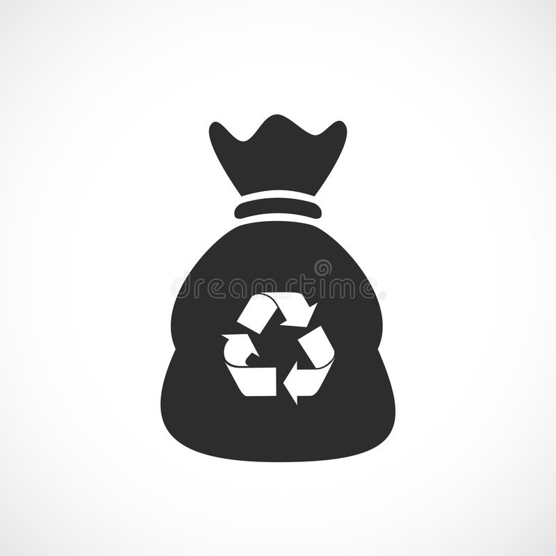 Trash bag vector icon. Isolated on white background vector illustration