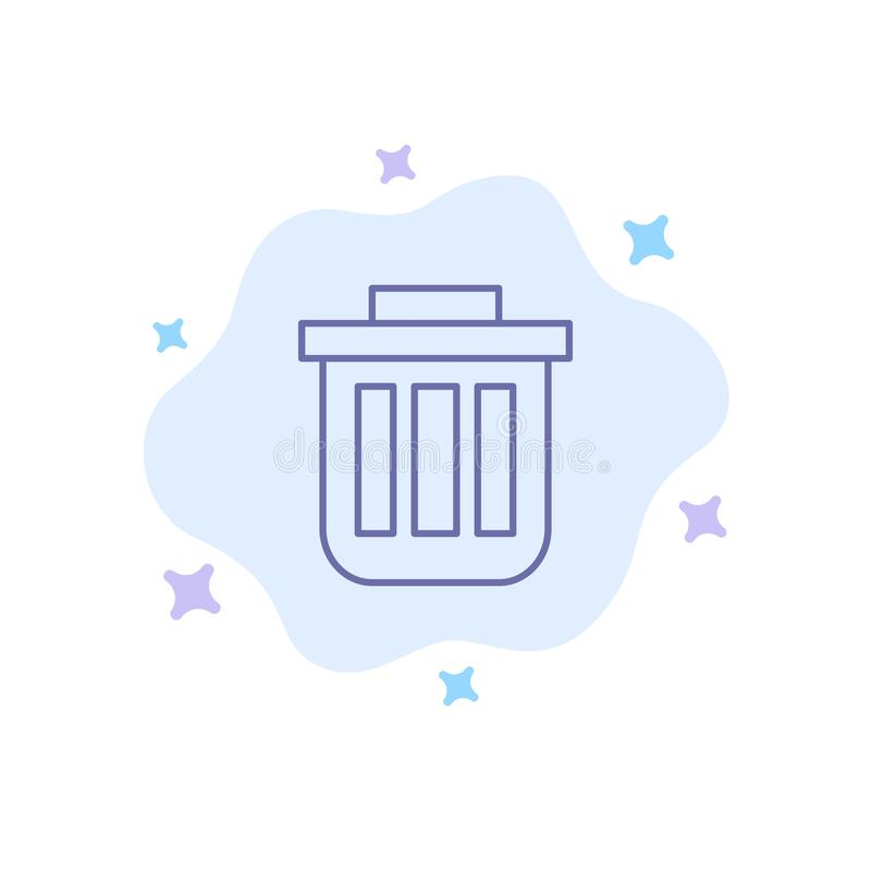 Trash, Basket, Bin, Can, Container, Dustbin, Office Blue Icon on Abstract Cloud Background vector illustration