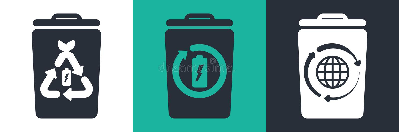 Trash bin flat elements with battery recycling vector illustration