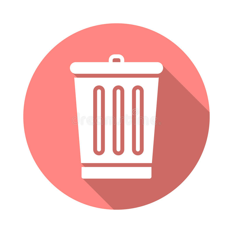 Trash bin flat icon. Round colorful button, Delete circular vector sign with long shadow effect. Flat style design royalty free illustration