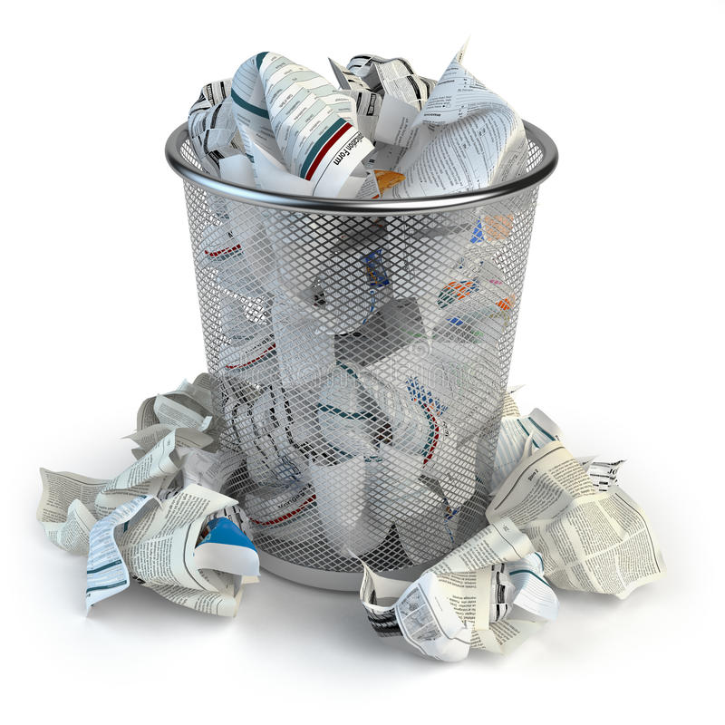 Trash bin full of waste paper. Wastepaper basket isolated on white background. stock illustration