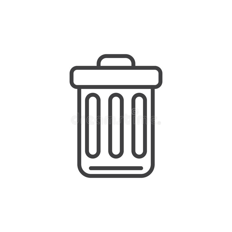 Trash bin line icon, outline vector sign, linear style pictogram isolated on white. Delete symbol, logo illustration. Editable stroke. Pixel perfect graphics royalty free illustration