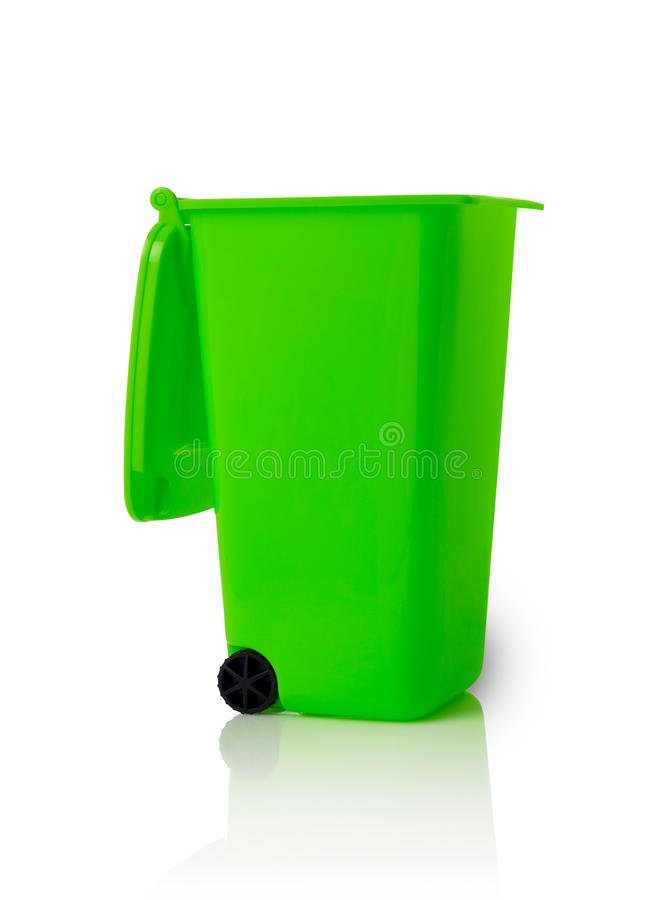 Trash bin. Open trash bin isolated on white stock photography
