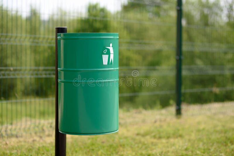 Trash bin in the park stock photo