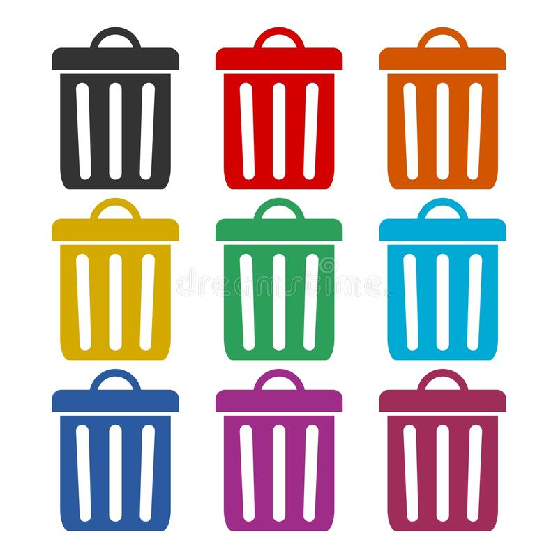 Trash bin or trash can symbol icon, color icons set royalty free illustration