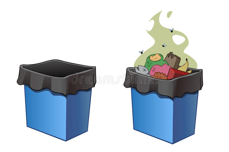 Trash bins, full and empty. vector illustration