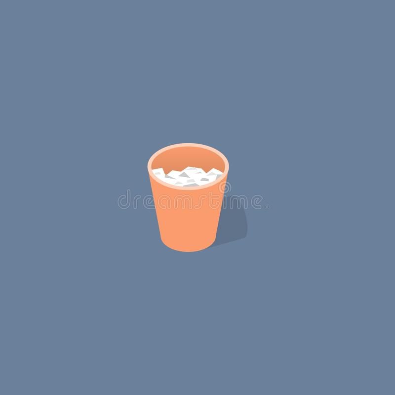 Trash Bucket isometric flat design vector royalty free illustration