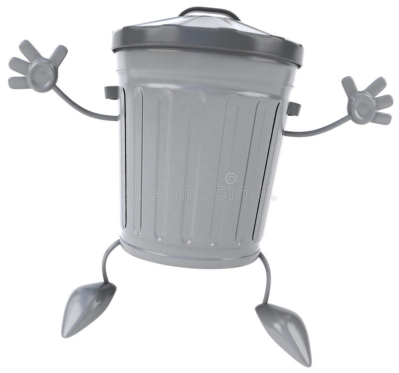 Trash can. Fun trash can, 3d generated picture royalty free illustration
