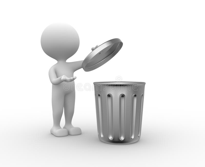 Trash can. 3d people - man , person standing next to a trash can vector illustration