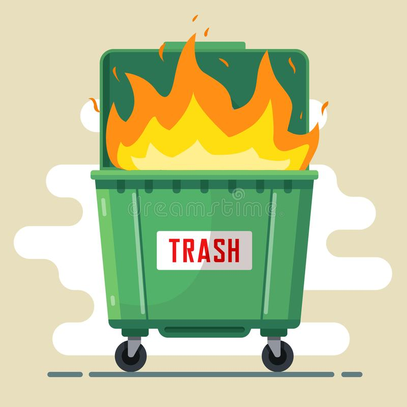 The trash can is burning. violation of the rules royalty free illustration