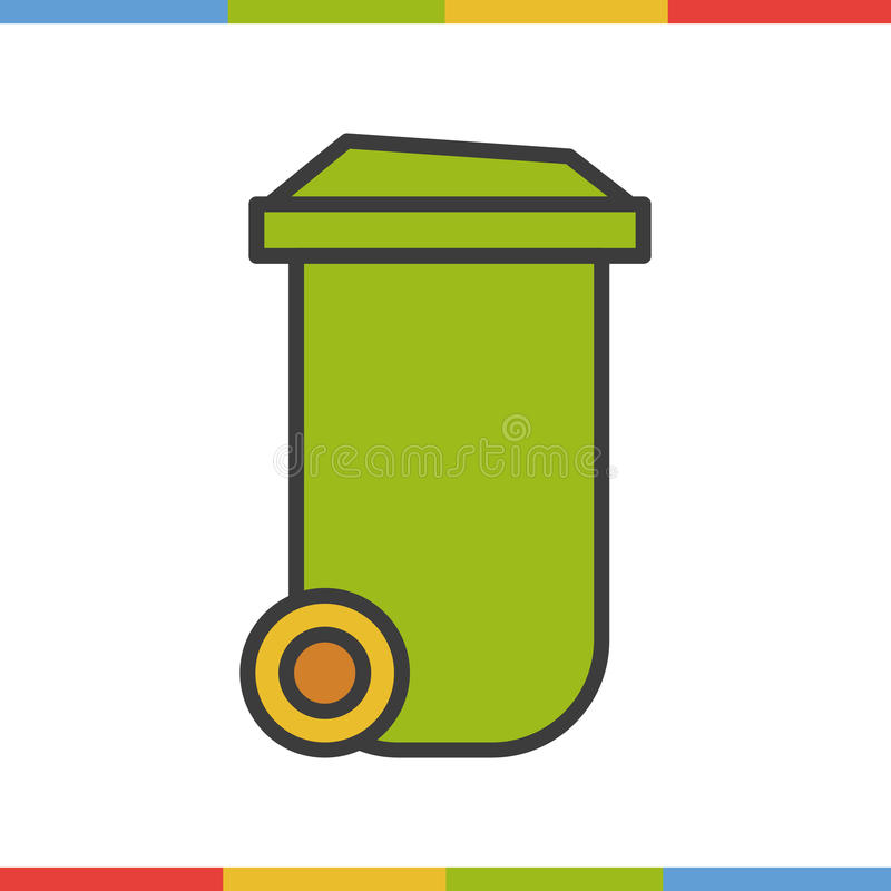 Trash can color icon. Isolated vector illustration vector illustration