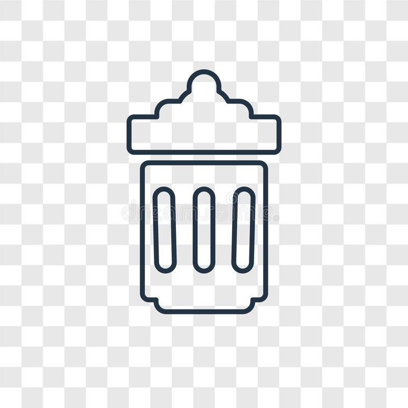 Trash can concept vector linear icon isolated on transparent background, Trash can concept transparency logo in outline style. Trash can concept vector linear royalty free illustration