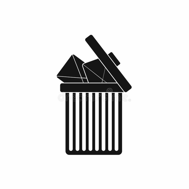 Trash can icon with envelopes icon, simple style stock illustration