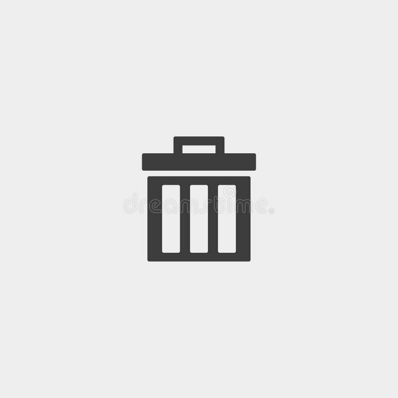 Trash can icon in a flat design in black color. Vector illustration eps10 stock illustration
