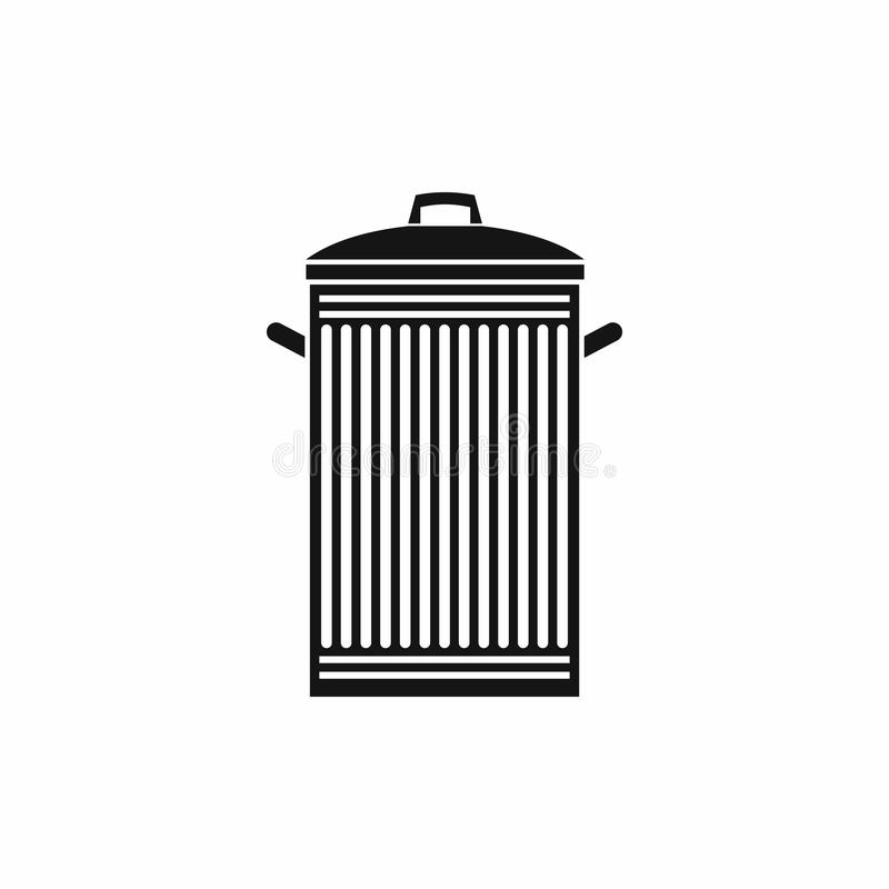 Trash can icon, simple style. Trash can icon in simple style isolated on white background stock illustration