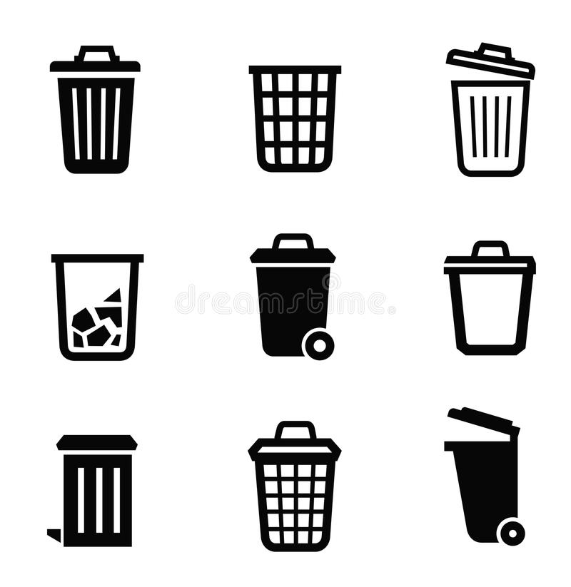 Trash can icon. Vector black trash can icon on white background
