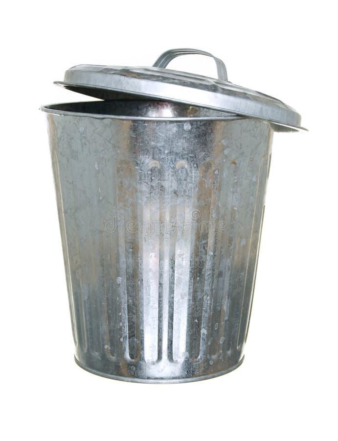 Trash Can, Lid Ajar Back Royalty Free Stock Image