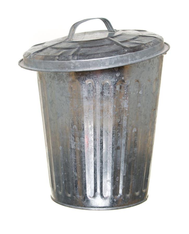 Trash can, lid ajar forward