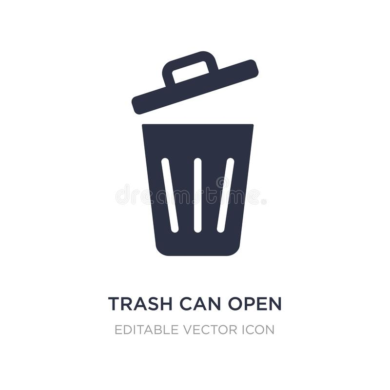 trash can open icon on white background. Simple element illustration from Tools and utensils concept vector illustration