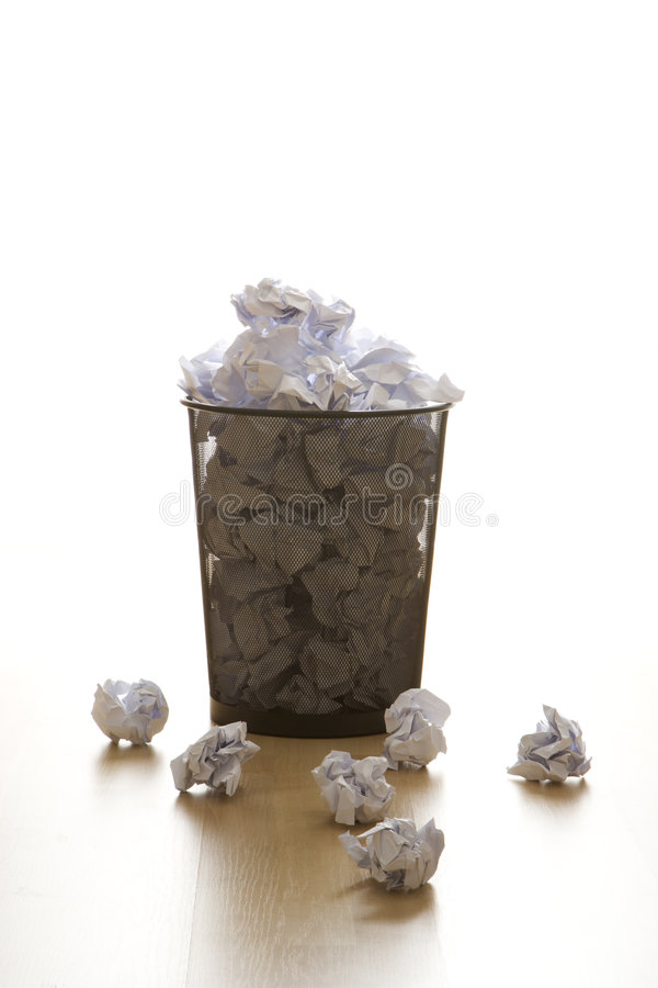 Download Trash can and paper. stock image. Image of supplies, full - 2425639