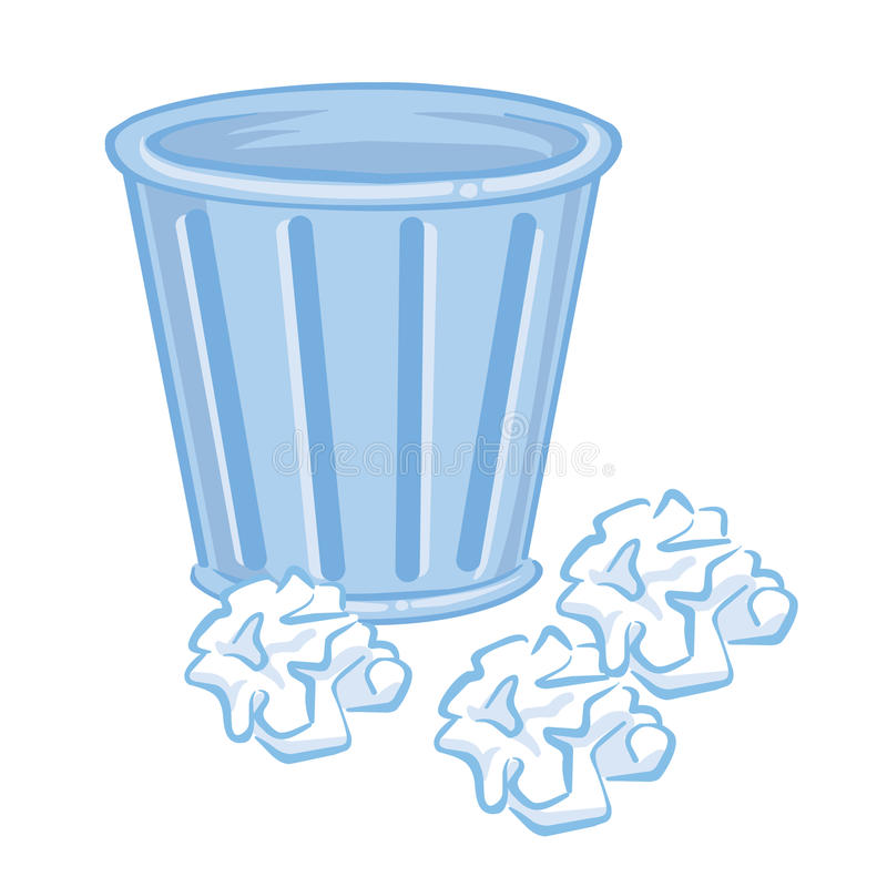 Trash Can and paper isolated illustration. On white background stock illustration