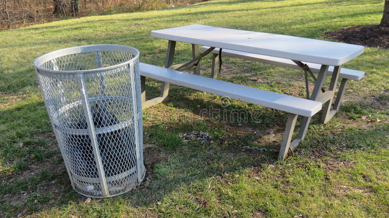 Download Trash Can U0026 Picnic Table Stock Photo. Image Of Lawn, Trash    86829228