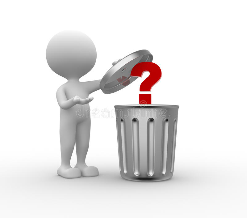 Trash can and question mark stock illustration