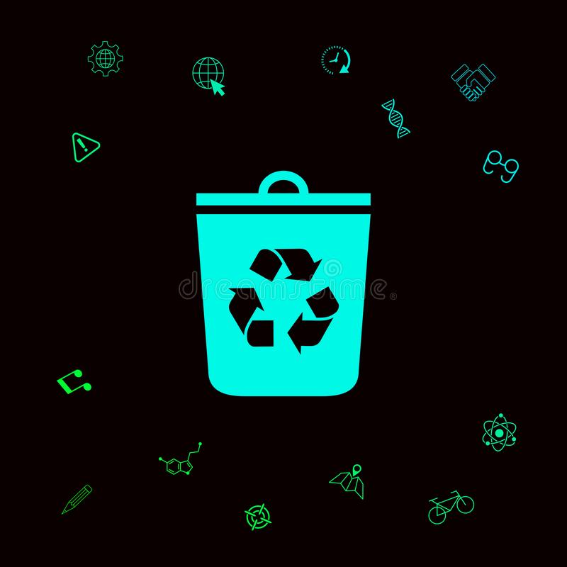 Trash can, recycle bin icon . Graphic elements for your designt stock illustration