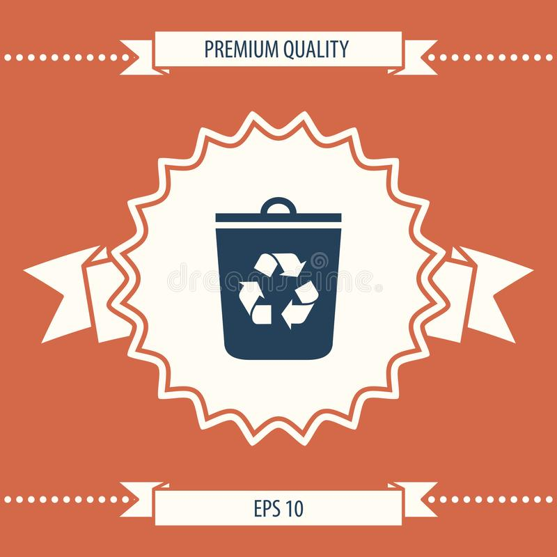 Trash can, recycle bin icon stock illustration