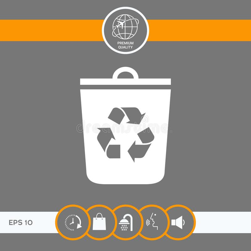 Trash can, recycle bin icon royalty free illustration